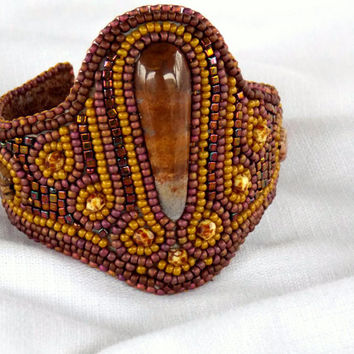 Bead Embroidery Bracelet OOAK Seed bead jewelry Bright colors Gold iris Picasso beads Brown Mustard color Ocean jasper