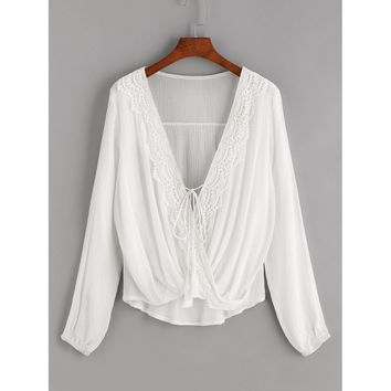 White Contrast Crochet Twisted Drape Front Self Tie Tassel Blouse