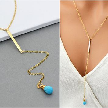 Birthstone Y Necklace, Personalized Lariat Necklace, Long Birthstone necklace, Gold Y Necklace, Birthstone Necklace gold, Silver, Rose Gold