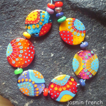 jasmin french ' siddhartha ' lampwork focal beads glass art set ooak