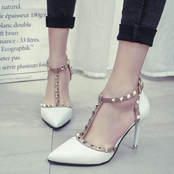 Buckle Rivets High Heel Shoes