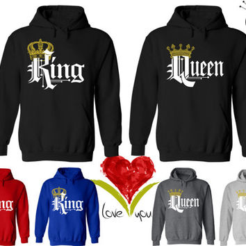 Price For 2 Hoodies - King and Queen Perfect Matching Love Set Hoodie Sweatshirts Hoodies