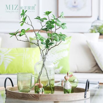 Miz 3 Branches Artificial Plants Home Garden Decoration Accessories Refreshing Simulation Plants Interior Decor No Vase