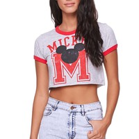 Doe Mickey Varsity Crop Ringer T-Shirt - Womens Tee - E. Heather Grey