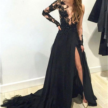 2016 Sexy Split One Shoulder Chiffon Prom Dress A Line Appliqued Prom Dress Floor Length Prom Dress Vestidos De Formatura Longo