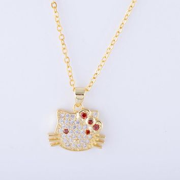 Hot Jewelry Cute Zircon Hello Kitty Charms Necklace For Women Handmade Copper Micro Pave Long Cartoon Pendants Bijoux Collares