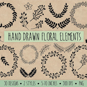 SALE - 50% OFF. Hand Drawn Floral Wreaths and Laurels Clip Art. Doodle Wreaths and Floral Elements. Hand Drawn Botanical Vine Frames.
