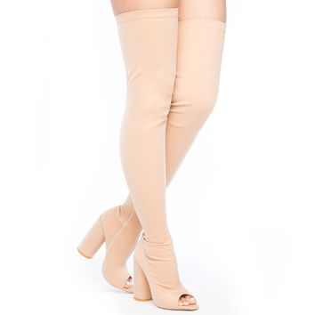 SHAYLA LYCRA THIGH HIGH BOOT - NUDE