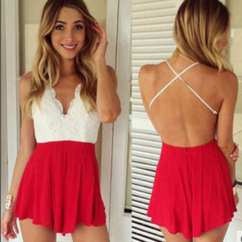 Fashion  Multicolor Lace Back Crisscross Strap Backless Sleeveless V-Neck Romper Jumpsuit Shorts