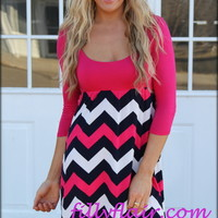 My future has always been bright short chevron dress in FUSCHIA - Filly Flair