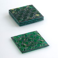 Green Glass Mosaic Coaster Set on Sale