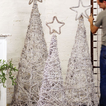 Set of 3 White Wash Giant Iron Twig Topiaries with Star Finials