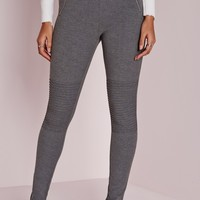 Missguided - Biker Detail Ponte Pull On Leggings Charcoal Grey