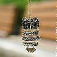 Chain necklace vintage OWL sweater chain [129]