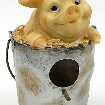 Pig In Pail Birdhouse