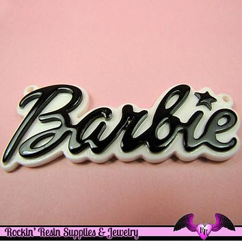 Black XL Girly Name Necklace Pendant or Decoden Kawaii Flatback Resin Cabochons