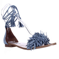 Steve Madden Sweetyy Ankle Tie Fringe Flat Sandals - Light Blue