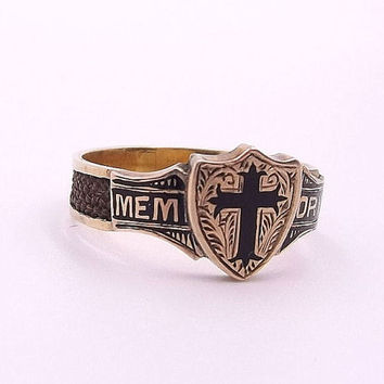 Victorian Mourning Ring | Antique 10ct Gold, Enamel and Woven Hair Ring 'MEMORY' | UK size Q ~ US size 8