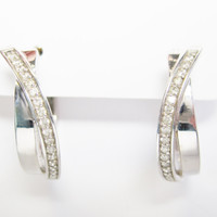 10K White Gold .50 Ctw Diamond Huggie Hoop Earrings