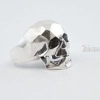 Sterling Silver section skull ring ,925 Silver ring,skull ring.Creative  ring