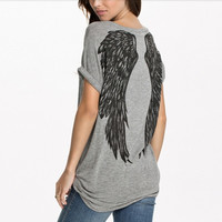 Fashion Women's Angel Wings Print Back Roll Batwing Sleeve Loose T-shirt Top TEE = 1946555716