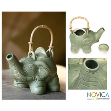 Ceramic 'Elephant Green Tea' Teapot (Indonesia)
