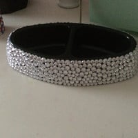 Clear Rhinestone Double Sided Pet Bowl