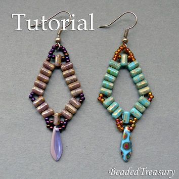 Simplicity - beadwoven earrings tutorial / Beading tutorial / Earring pattern / Bead pattern / Rulla tutorial / Rulla pattern TUTORIAL ONLY