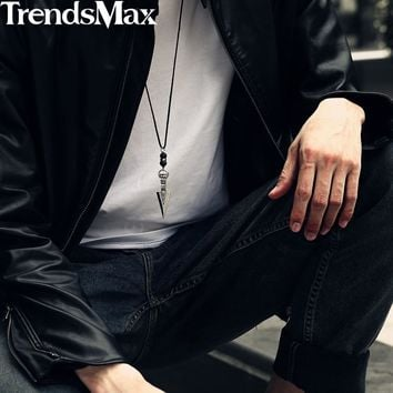 Men's Necklace Stainless Steel Arrow Pendant Lava Bead Long Leather Necklace For Men 32inch Punk Jewelry ping KDN11