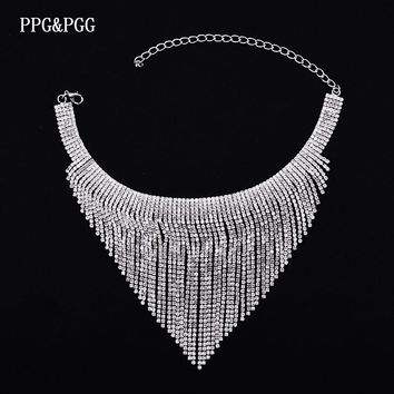 PPG&PGG  2017 New Rhinestone Choker Crystal Tassel Choker Chocker Women Statement Jewelry Wedding Party Chunky Necklace