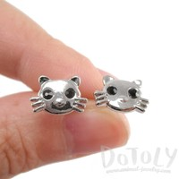 Hello Kitty Cat Face Shaped Stud Earrings in Silver | DOTOLY