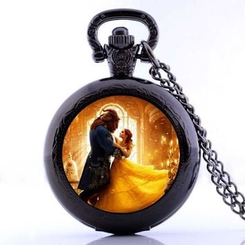 2017 Cosplay Movie Beauty and the Beast Pocket Watch Necklace Analog jewelry Chain Boys Girls