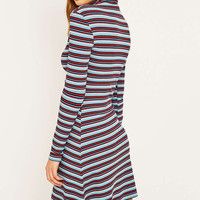 BDG Turquoise Stripe Ribbed Turtleneck Dress - Urban Outfitters