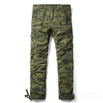Men's Large Size Camo Cargo Pants Elastic Ankle Straps Manly Casual Loose Overalls