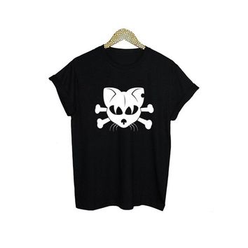 Gothic Cat Skull T Shirt Women Harajuku Punk Graphic Tees Women Clothes Black White