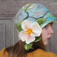 Spring felted cloche hat, retro style hat, turquoise green purple with white flower and green leaves. OOAK
