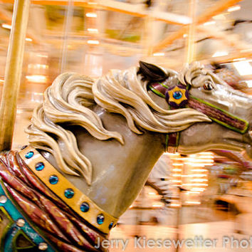 Carnival Photography, Carousel Photo, Merry-Go-Round Photo, Horse Photography, Vintage Boardwalk Carnival Art, Home Decor, Nursery Decor