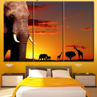 Elephant, Elephant in sunset, sunset in Africa, elephant art, Elephant decor, Elephant Print, elephant wall art, elephant painting