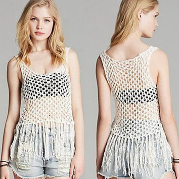 Bralette Hot Summer Stylish Comfortable Beach Tassels Knit Sexy Hollow Out Vest [10349113356]