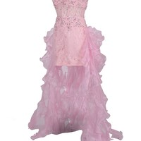 Dressystar Pink Beaded Lace Prom Dress Sweetheart Christmas Party Dress Add Organza Tiered Train