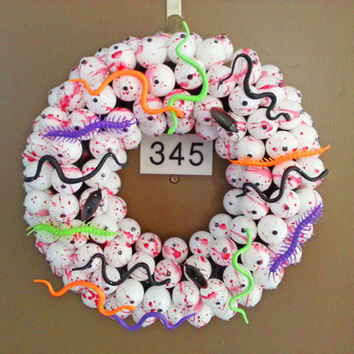 Halloween Eyes Bugs and Snakes Ping Pong Ball Wreath