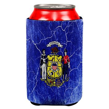 Wisconsin Vintage Distressed State Flag All Over Can Cooler