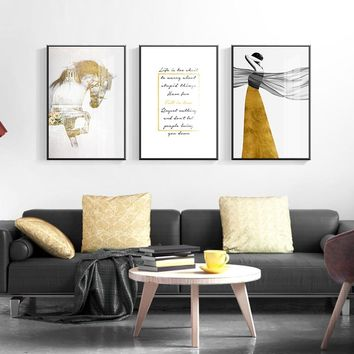 Nordic Elegant Woman Golden Dress Letter Canvas Painting Horse Poster Print Abstract Wall Art Pictures For Living Room Bedroom