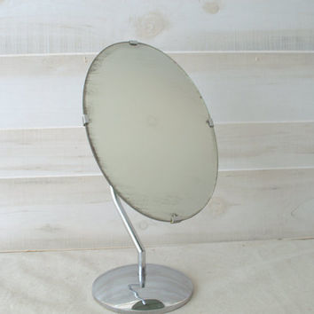 Chrome Vanity Mirror, Oval Mirror on Stand, Mid Century Pedestal Mirror, 1950s Chrome Pedestal Mirror