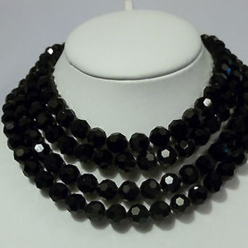 VENDOME BLACK GLASS NECKLACE TWO OF THEM! FOUR STRANDS JET BLACK CRYSTALS