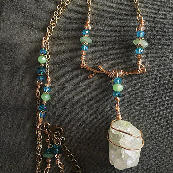 Green Druzy Crytal tree branch Necklace>>Adjustable chain