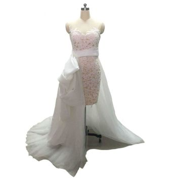 Long Sleeves Lace Short Wedding Dress with detachable Tulle Train Keyhole Back Summer Bridal Gown