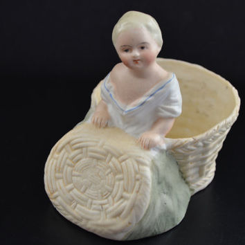 Bisque Baby in Basket, Heubach Figurine,German Bisque Figure, Antique Bisque Baby Figurine, Bisque PianoBaby, Vintage Bisque Baby Figure
