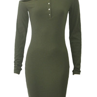 Army Green Off Shoulder Button Front Ribbed Long Sleeve Bodycon Dress
