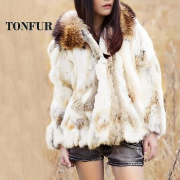 New Fashion Low Discount 100% Real Rabbit Fur Coat With Luxury Genuine Fox Fur Collar Jacket Factory Wholesale OEM DFP986